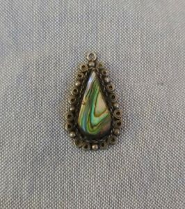 Vintage Mexico Sterling Silver Abalone Shell Necklace Pendant