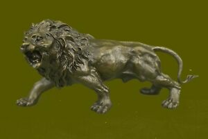 Bronze Sculpture Ferocious Wild Lion By Barye Figurine Figure Decor Statue Sale