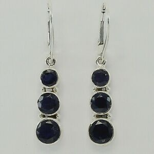 Genuine and Natural Blue IOLITE Earrings 925 STERLING SILVER Leverback #32