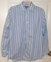 Mens KENNETH COLE REACTION~BLUE DRESS SHIRT~size 16 32/33~NEW~SLIM FIT~Striped