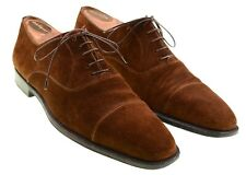 Sutor Mantellassi Brown Suede Leather Chissel Cap Toe Oxford Dress Shoes 9.5