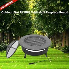 Outdoor Fire Pit BBQ Table Grill Patio Cooking Camping Wood Backyard Fireplace
