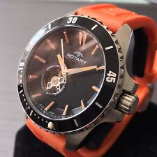 Mens Swiss Rotary Watch AQUASPEED Automatic Black Orange Silicone AGS90078/A/04