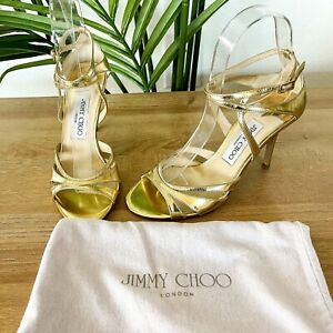 Jimmy Choo Women's Sz 36 US 6 Gold Patent Leather Strappy Heels Ankle Sandals
