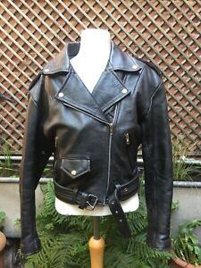 Genuine black leather heavy Biker rocker motorbike jacket women's medium