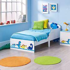 Dinosaures Lit Enfant Bébé Blanc Bleu Junior Chambre D'Enfant avec Protectrice