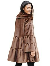 Victorian Trading Tiered Swing Faux Fur Mink Coat SM