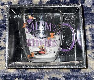 Disney Hocus Pocus Glass Mug w/Glitter Handle 14oz Sanderson Sisters Brand New