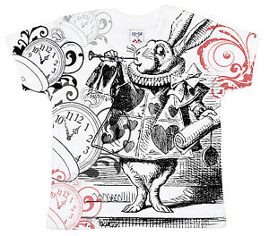 Dirty Fingers Baby T-Shirt All Over Print Alice in Wonderland White Rabbit