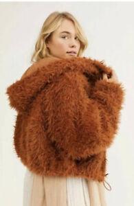 FREE PEOPLE FP ONE ZURI Parka Fuzzy Faux Fur Jacket Hoodie Coat S
