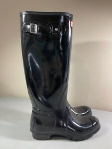HUNTER ORIGINAL WOMEN'S WFT1000RGL TALL BLACK GLOSS RAIN BOOTS SIZE 9