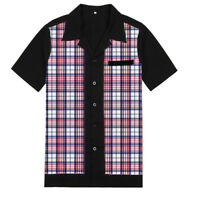 Mens Retro Vintage Bowling Shirts Gingham Shirt Check Smart Casual Shirt