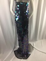 Fantastic Hologram Big dot sequin mesh fabric 54 Black pearl. Sold by the yard.