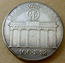 Adolf Hitler 100 Reichsmark 1933 COIN Brandenburg Gate 100 RM Berlin THIRD REICH