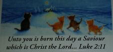 24 Cat Kitten Unto you is born Saviour Christmas Star Stickers Chrissie Snelling