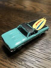 Aurora HO Slot Car Turquoise El Camino Black Hardtop, Yellow Surfboards