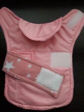Size XXS Waterproof dog coat. pink  and pink star fleece  inner.