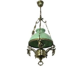 chandelier Small Lampe Belge Art Glass Green Shade Putti Cherubs Brass 1 Light