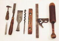 Vtg antique woodworking tool lot chisel level square auger bit punch scraper