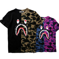 BAPE A BATHING APE Mens Shark Head Camo T-shirt Crew Neck T Shirt Tops Basic TEE