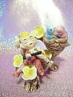 *SUPER RARE* VTG Japan Pink Elf Pixie on Tree Chair w Birdies & Flowers Figurine