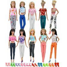 Lot 20pcs=5 Blouse&5 Trousers Casual Clothes 10 Pairs Shoes For Barbie Doll S