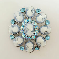 New Blue Crystal Flower Cameo Love Wedding Party Vintage Style Brooch Pin B1059