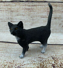 Schleich Cat Standing Animal Figure Black White PVC Realistic Collectable Toy