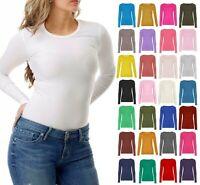 Ladies Women's Plain Long Sleeve Crew Neck Casual Stretchy Tee T-Shirt Top UK