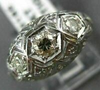 ANTIQUE .40CT OLD MINE EURO CUT DIAMOND 14KT WHITE  GOLD 3D FILIGREE RING #20185