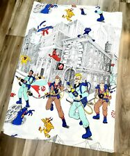 Vintage 80s Real Ghostbusters Twin Bed Sheet Flat Cotton Cartoon 1984