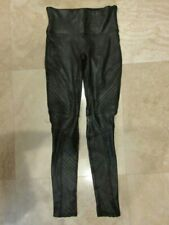 SPANX FAUX LEATHER MOTO Very Black Leggings Retail $110 Size S