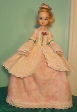 "Cream & Pink Floral 3 pc Marie Antoinette Gown for 17"" Bonnie Blue Doll BBHC01"