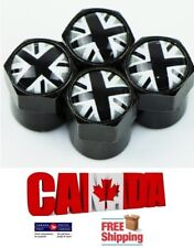 4x Car Union Jack UK Silver & Black Wheel Valve Tire Air Black Caps Valve Stems