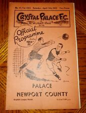 More details for  pre war programme crystal palace v newport county 13th april 1935