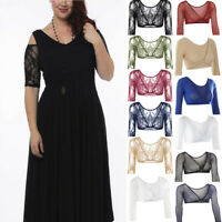 Women's Arm Shaper Sleeve Wonder Lace V-Neck Sheer Solid Cardigan Dress Crop Top