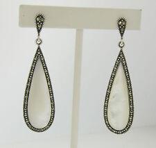 Marcasite Sterling Silver Elongated Tear Drop Mother of Pearl Ladies Earrings