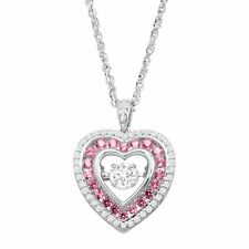 Created Pink & White Sapphire Floater Heart Pendant in Sterling Silver