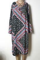 IKILER Kleid Gr. 46 blau-grau-rot wadenlang Langarm Blumen Kleid Patchwork Optik