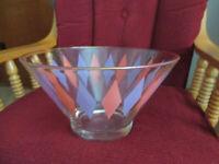 "Vintage  Orange Purple Diamond Harlequin Anchor Hocking Glass Chip Bowl w  6"" t"