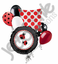 7 pc Fancy Lady Bug Balloon Bouquet Party Decoration Baby Shower Birthday Dots