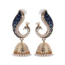 Retro Indian Bollywood Kundan Peacock jhumka Drop Gyspy earrings
