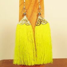 "3"" Long Yellow Tassel Bohemian Style Handmade Dangle Earring FREE SHIPPING!!"