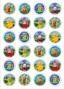 24 x Edible Cupcake Toppers - Rice / Wafer Paper - Perfect for Teletubbies Fans
