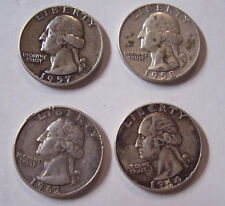 WASHINGTON QUARTERS 4 SILVER COINS 1957 1958 1962 1964 D MINT MARKS