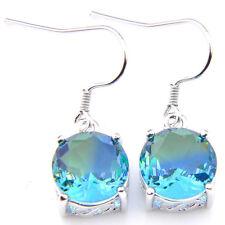 Classical Round Woman Bi Colored Tourmaline Gemstone Silver Dangle Drop Earrings
