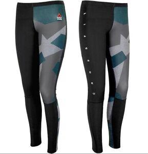 Reebok Crossfit Ladies Compression Leggings Running Training Trousers Black