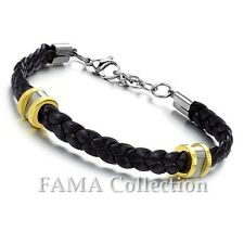 Stylish Fama Black Leather Bracelet with 316L Stainless Steel 2Tone Beads