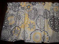 Gray Yellow Circle Polka Dot retro waverly fabric kitchen curtain topper Valance