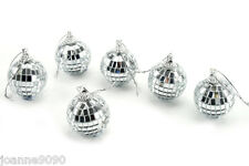 SET OF 6 DISCO MIRROR BALL BAUBLES CHRISTMAS TREE DECORATIONS HOME PARTY GIFT